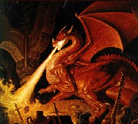 Classic image of dragon breathing fire